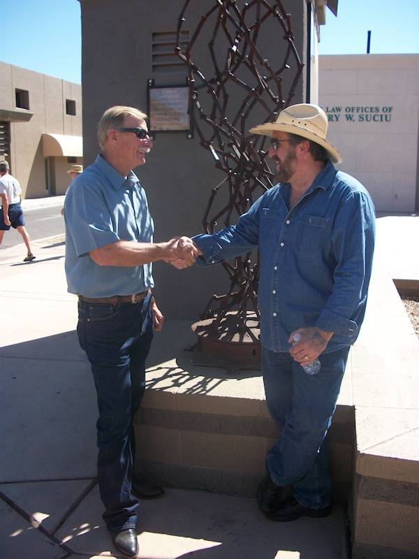 Gilbert McCann, by 'Spike,' with the Mayor of Yuma, AZ